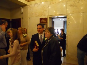 Mayor Sarno with then not yet retired Judge Mary Hurley during Sarno's 2012 inauguration. (WMassP&I)