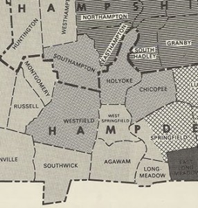 The Holyoke-Westfield district from 1977-1986, then called the 1st Hampden & Hampshire.  Note the compactness, and absence of all Westfield suburbs, but inclusion of all of Chicopee (via malegislature.gov)