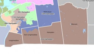 The Second Hampden House District in dark brown. Parts of Springfield that dip toward Longmeadow were once in the district. (via malegislature.gov)