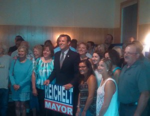 William Reichelt with supporters at Tatham Memorial Club in Westside (WMassP&I)