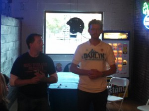 Adrian Dahlin, right, addresses supporters with Rep. Aaron Vega (WMassP&I)