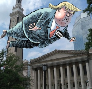 He may not be coming, but the campaign is. (created via wikipedia images and Pittsburgh Post-Gazette cartoon).