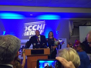 Nick Cocchi and wife Wendi take the stage at the Lusitano Club in Ludlow (via Twitter/@ericlesser)