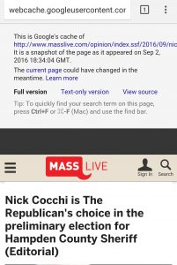 Mobile screen shot of Google caceh note for the endorsement. (via Google)