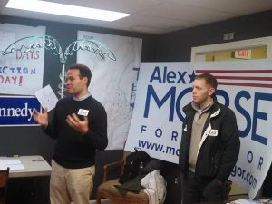 Sen. Eric Lesser and Holyoke Mayor Alex Morse during the 2015 mayoral campaign. (WMassP&I)