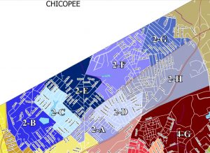 Ward 2 in Springfield divided up into its constituent precincts in shades of blue and lavender. (via Mass Sec. of State)